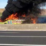 Roma, pullman di studenti a fuoco sull'autostrada A/1 tanto spavento ma nessun ferito